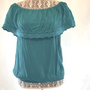 NWT Buddy Basic/Teal Bliss Boutique peasant blouse